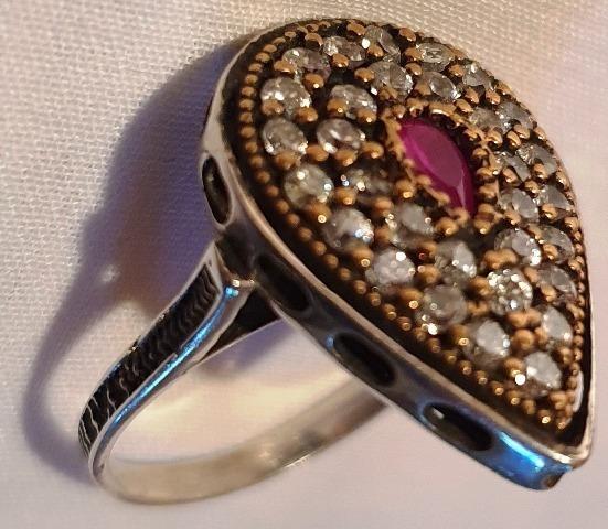 Anel Prata 925,fio Ouro Pedras Nº19 Joia Linda Preciosa Usad