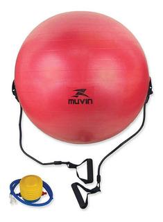 Bola De Pilates Com Extensor 65cm Blg-400 - Vermelho - Muv
