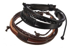 Pulseira Masculina Ou Feminina , Bracelete De Couro Tribal