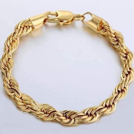 Pulseira Modelo Cordão Baiano Grossa Banhado A Ouro