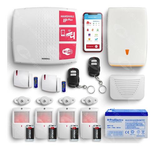 Kit Alarma Casa Marshall Ip Wifi Inalámbrica Domiciliaria Internet App Celular Sirena Sensores Inalámbrica Garantía