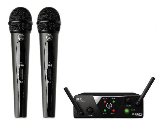 Microfone De Mão Duplo Sem Fio Akg Wms40 Pro Mini