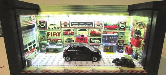 Garagem Diorama C/ Luz Fiat 500