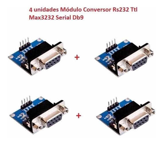 4 Unidades Módulo Conversor Rs232 Ttl Max3232 Serial Db9