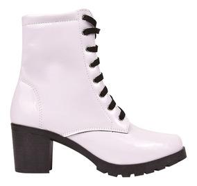 Bota Coturno Sapato Feminina Cano Baixo Salto Tratorado Jln1