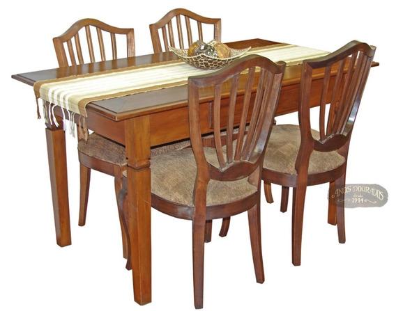Mesa Jantar/gourmet Peroba Rosa 4 Cadeiras Leque