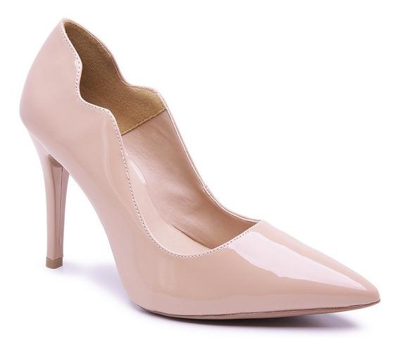 Sapato Scarpin Di Cristalli Feminino Verniz Salto Agulha