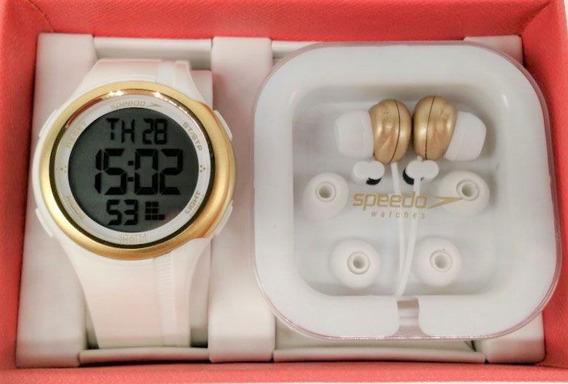 Kit Relógio Speedo Branco Com Dourado Feminino 80587l0evnp1