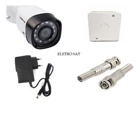Camera Segurança + Fonte 1a + Caixa Sobrepor +2 Conector Bnc