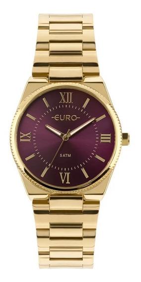 Relógio Euro Feminino Dourado Com Fundo Vinho Eu2035yqs/4n