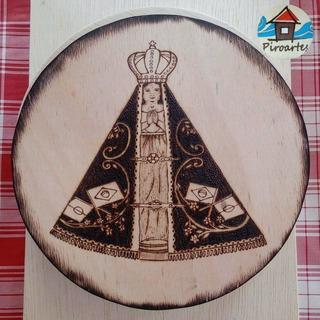 Quadro Decorativo Nossa Senhora Aparecida Pirografia Madeira