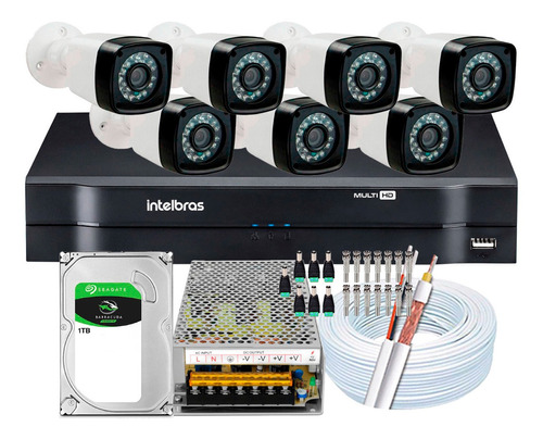 Kit Full Hd 7 Cameras Segurança Intelbras 1080p 2mp Dvr 8 Ch