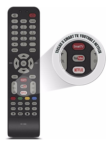 Controle Tv Semp Tcl 4k Rc199e C/ Tecla You Tube Netflix