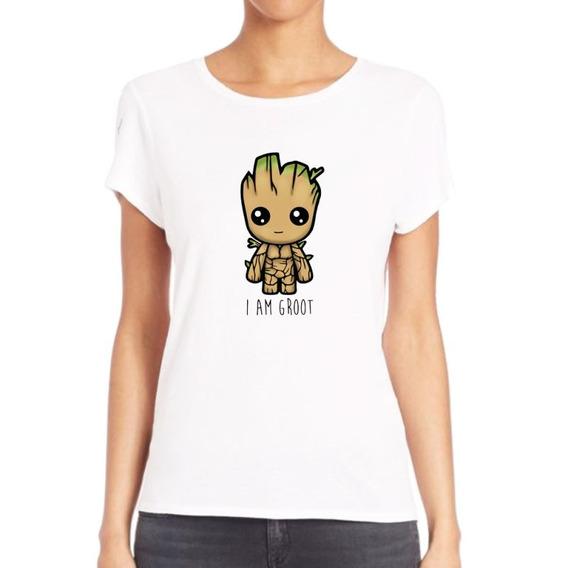 Remera De Mujer Groot I Am Baby Guardianes Arbol M4