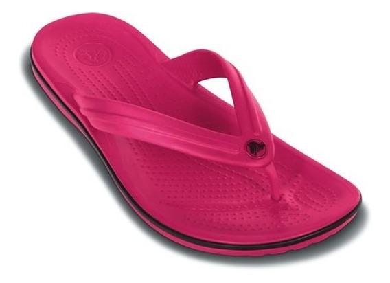 Sandalia Crocs Dama Crocband Flip Rosa/negro