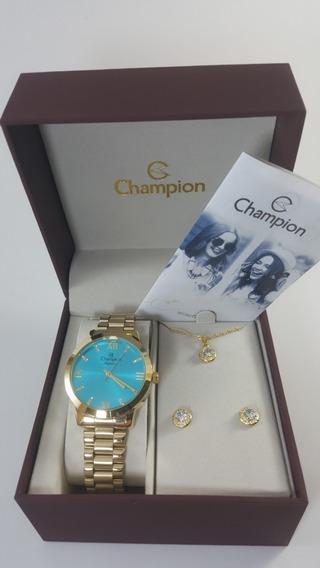 Kit Champion Cn25163y Relógio Feminino + Conjunto Semi-jóia