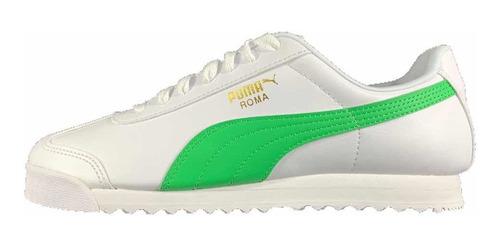 Imagen 1 de 6 de Tenis Puma Roma Hombre Blanco-verde 369571-02 Look Trendy