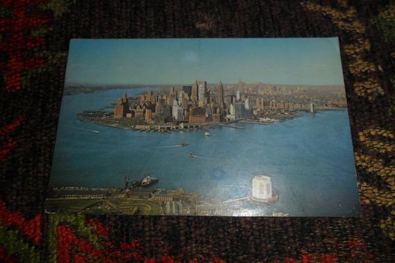 Antigua Tarjeta Postal Lower Manhattan Skyline
