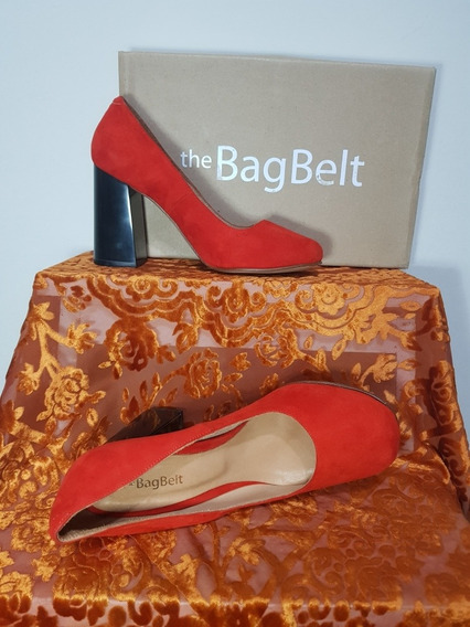 Zapatos Stilletos Rojos De Gamuza The Bagbelt Talle 37
