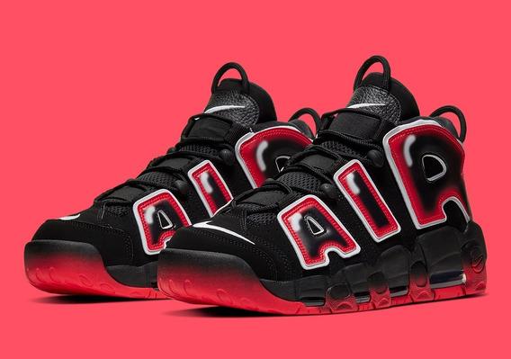 Nike Air Uptempo Black White Laser Crimson