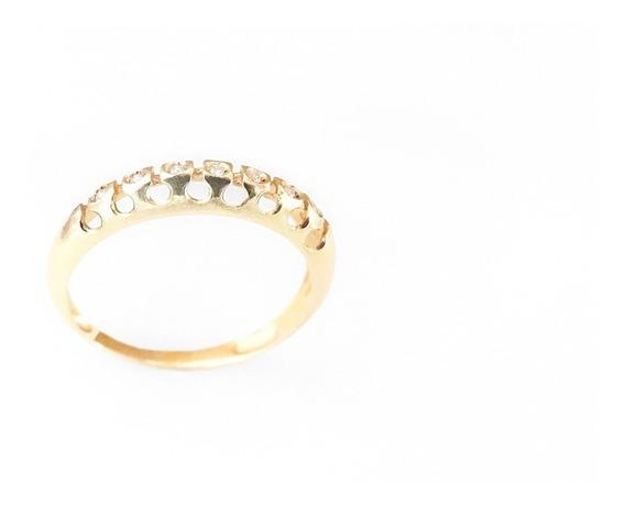 Meia-aliança Em Ouro 18k Diamante Vazada Frete Grátis