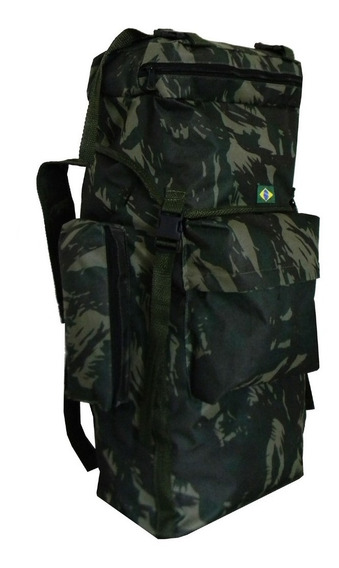 Mochila De Camping Trilha Militar 80 Litros Camuflada Acampa