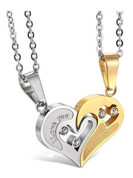 Colar Duplo Coração Casal Dia Namorados I Love You 2 Colares
