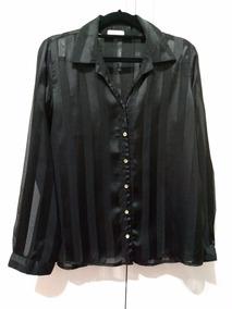 Camisa Listrada Transparente Feminina