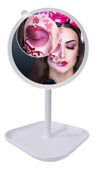Espejo Doble Aumento 360° Luz Led Maquillaje Carga Usb