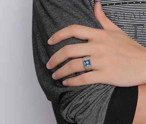 Anel Masculino Aço Pedra Zircônia Azul Folheado Ouro Branco