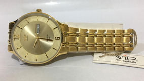 Relógio Vip Mh-6320 Pulseira Dourada Original Nota Fiscal
