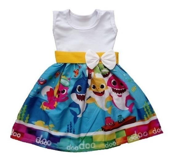 Vestido Infantil De Festa Temático Baby Shark Roupa/fantasia