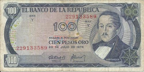Colombia  100 Pesos Oro 20 De Julio De 1974