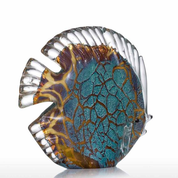 Colorido Manchado Peixes Tropicais Tooarts Vidro Escultura