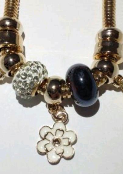 Pulseira Bracelete Flor,trevo,berloques Pingentes