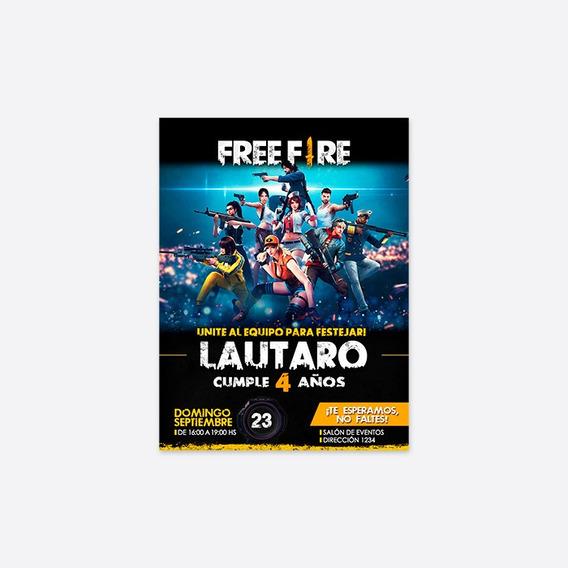 Invitacion Digital Personalizada Free Fire Gamer Videojuego