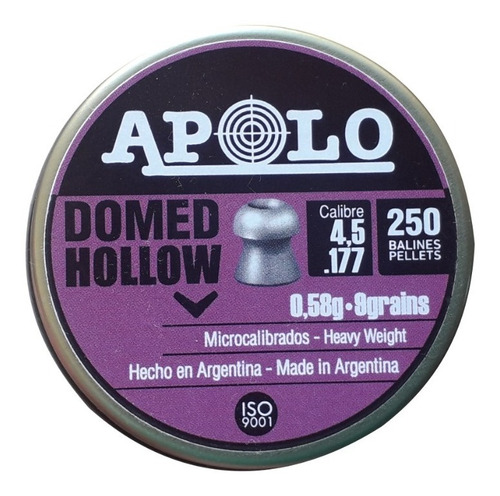 Balines Apolo Domed Hollow Point 4,5 Mm X 250 Unidad