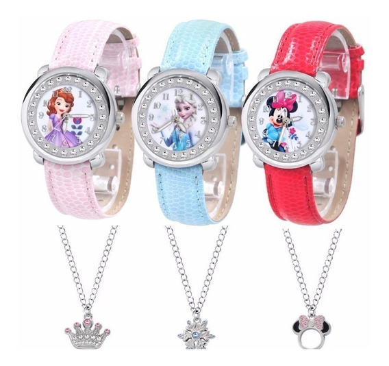 Relógio Frozen Sophia Disney Minnie Pulseira Couro Com Colar