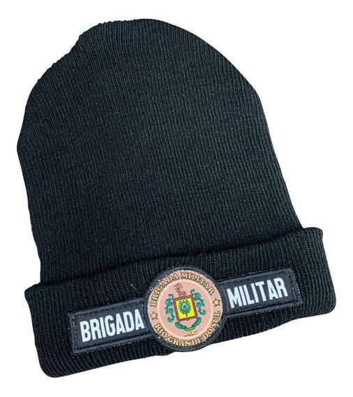 Kit 1 Touca Preta De Lã + 1 Cachecol Brigada Militar C/ Nota