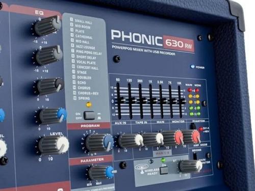 Consola Mixer Potenciada Phonic Power630 Bluetooth 300w 6 C