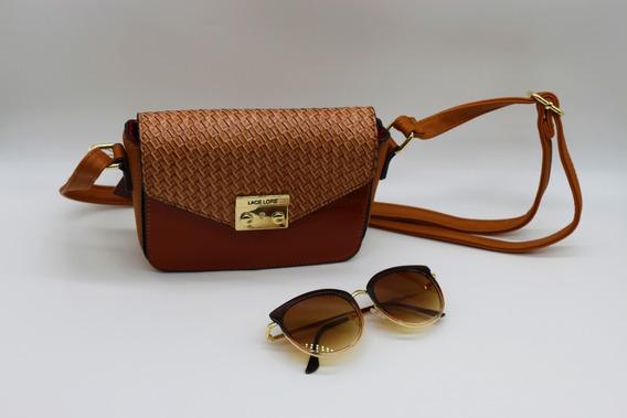 Kit Bolsa Feminina Tiracolo + Óculos De Sol
