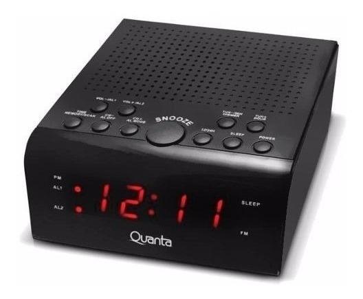 Rádio Relógio Despertador Quanta Qt4300 Digital Fm Am Bivolt Memoriza Até 40 Frequências Rádio Ou Alarme
