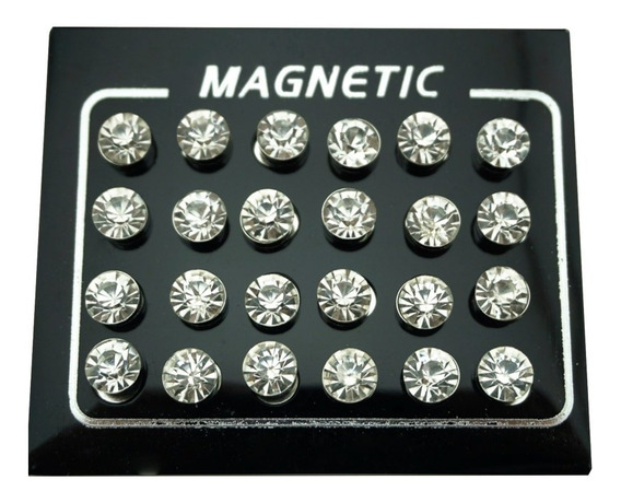 Cartela Com 12 Pares De Brincos Pressão Magnético Imã