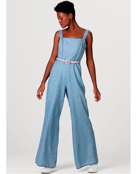 Macacão Jeans Feminino Com Modelagem Pantalona Hering