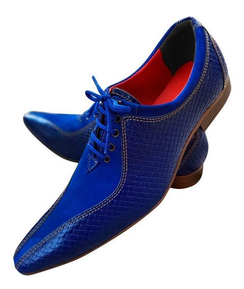 Sapato Masculino Em Couro Azul Italiano Ref: 509