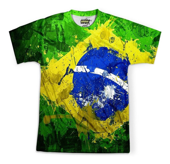 Camiseta Masculina Brasil Bandeira Copa Md01