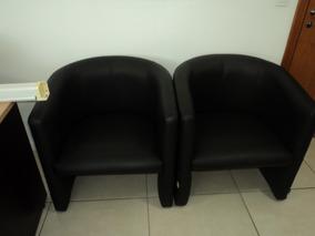 Kit 2 Poltrona Cadeira Recepção Consultório Salaespera Preto