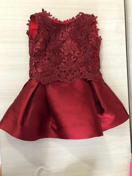 Vestido Luxo Bebe Marsala Tam 8 Meses