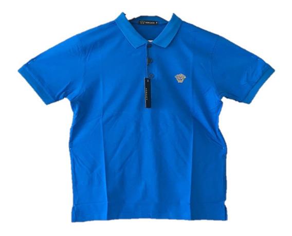 Polo Versace Logo En Pecho Azul , Envio Gratis