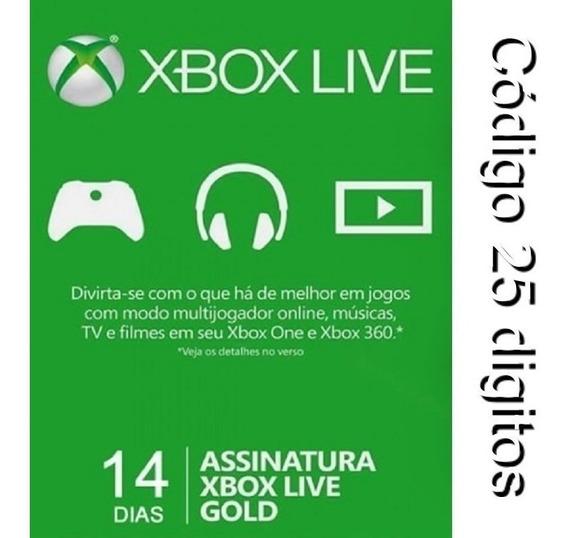 Xbox Live Gold 14 Dias - 25 Digitos Xbox One Ou Xbox 360